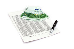 Euro with document Royalty Free Stock Photos