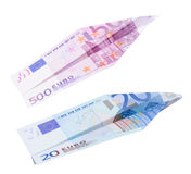 Euro does up. Paper Euro plane isolated on white background Stock Images