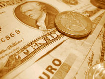 Euro and dollar. With sepia effect Stock Images