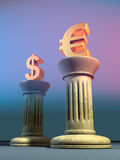 Euro and dollar. Symbols on two columns. Digital illustration Stock Photos
