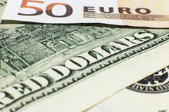 Euro and dollar. Euro and united states dollar currency background Royalty Free Stock Photo