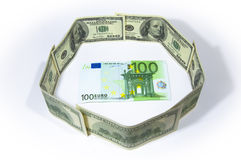 Euro in dollar Stock Images