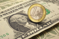 Euro and dollar. Currency euro coin and dollar banknote stock photos
