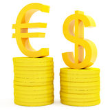 Euro and dollar. Diagram of the euro and dollar  from coins Royalty Free Stock Photography