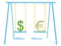 Euro and dollar. Isolated white Royalty Free Stock Image