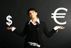 Euro dollar. Girl search what is besr stock photo