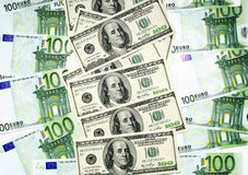 Euro and dollar. Banknotes. Financial concept. As backdrop or background Stock Photo