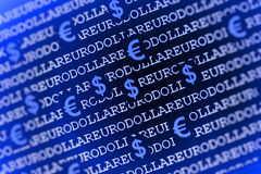 Euro-dollar background in blue Royalty Free Stock Photography