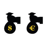 Euro and dollar in bag with hand vector Stock Photography