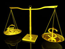 Euro and Dollar on balance Stock Photos