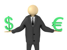 Euro and Dollar Balance. 3D image of businessman representing balance of dollar and euro Royalty Free Stock Photography