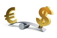 Euro dollar balances. On a white background Royalty Free Stock Photography