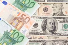 Euro and dollar banknotes Royalty Free Stock Images