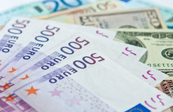 Euro and dollar banknotes. Closeup of different euro and dollar banknotes Stock Images