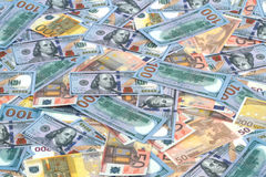Euro and dollar banknotes as background Royalty Free Stock Photo