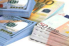 Euro and dollar banknotes. Close up Royalty Free Stock Photography