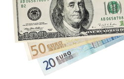Euro and dollar banknotes isolated Royalty Free Stock Photo