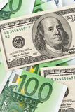 Euro and dollar banknotes. Royalty Free Stock Images
