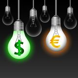 Euro , dollar $ bulbs. On a black background . Vector illustration Royalty Free Stock Image
