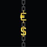 Euro and dollar on chain vector Stock Photos