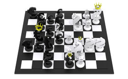 Euro dollar chess game black and white. 3D render of a chess game between euro and dollar symbols. Black and white colors on a white background Royalty Free Stock Photo