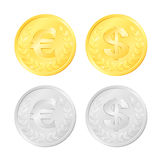 Euro and Dollar Coins Royalty Free Stock Images