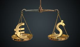 Euro and dollar comparison. Golden euro and dollar symbols on scales.  Stock Image