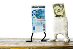 Euro and dollar, concept currency trading. Plastered note royalty free stock image