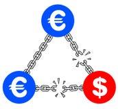 Euro and dollar crisis. Creative design of euro and dollar crisis symbol Royalty Free Stock Image