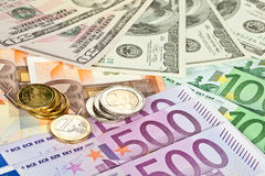 Euro and dollar currency Stock Photo
