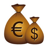 euro and dollar currency symbol icon Stock Photography