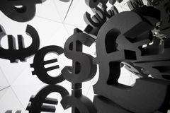 Euro, Dollar Currency Symbol With Many Mirroring Images of Itself stock image