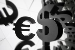 Euro, Dollar Currency Symbol With Many Mirroring Images of Itself stock photo