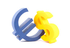 Euro with dollar currency symbols. Blue euro with yellow dollar currency symbols stock images