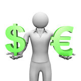 Euro and Dollar. 3D image of man with dollar and euro signs Royalty Free Stock Images