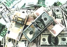 Euro dollar et dessin russe d'aquarelle d'argent de billets de banque de blocailles photographie stock libre de droits