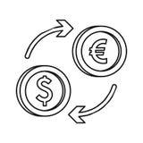 Euro dollar euro exchange icon, outline style Royalty Free Stock Image