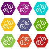 Euro dollar euro exchange icon set color hexahedron. Euro dollar euro exchange icon set many color hexahedron isolated on white vector illustration Stock Image