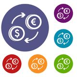 Euro dollar euro exchange icons set. In flat circle reb, blue and green color for web Stock Images