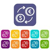 Euro dollar euro exchange icons set. Vector illustration in flat style in colors red, blue, green, and other Stock Photo