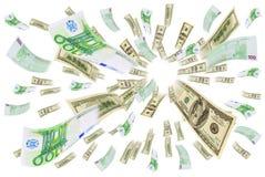 Euro-dollar för valutahandel. Arkivfoton