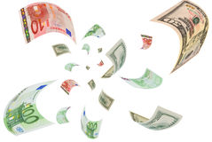 Euro-dollar för valutahandel. Royaltyfria Foton