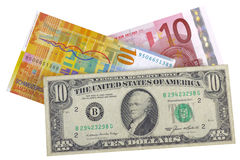 Euro, dollar and franc. Euro, dollar, franc, currency isolated over white stock images