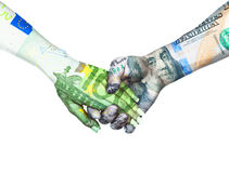 Euro and dollar holding hands in sky background Stock Photography