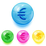 Euro and dollar icons. Set of colorful balls with euro and dollar icons on white background, illustration Royalty Free Stock Photo