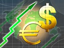 Euro and dollar increasing value. Illustration with blue world map and green arrow Royalty Free Stock Photos