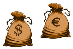 Euro and dollar money bag Royalty Free Stock Photo