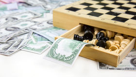Euro And Dollar Money and Chess Royalty Free Stock Images