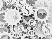 Euro and dollar money mechanism. White money mechanism with euro and dollar signs vector illustration