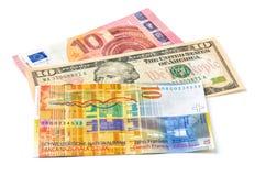 Euro, dollar och schweizisk franc Arkivbilder